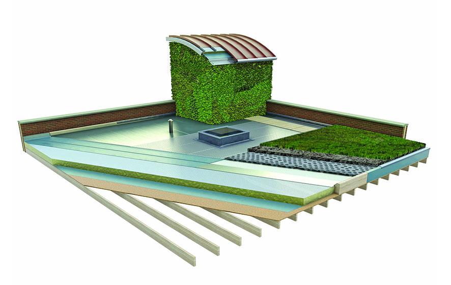 Green flat roof illustration