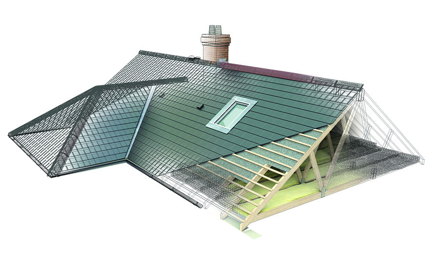 Wireframe Pitched Roof illustration